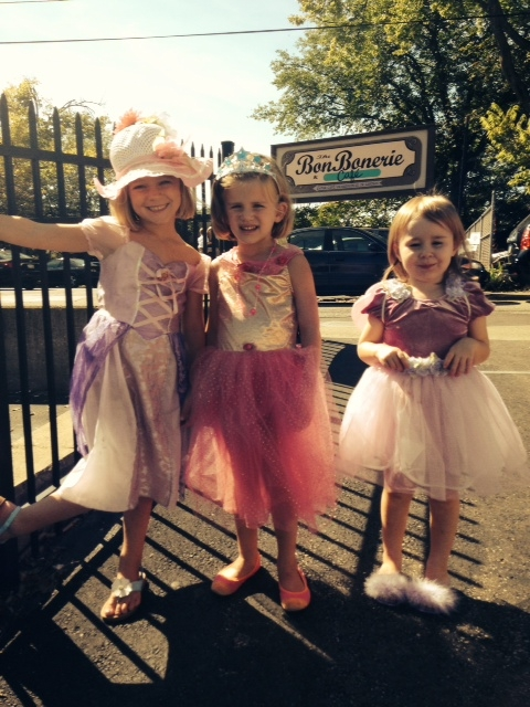 little girls leaving their tea party in our Tea Room